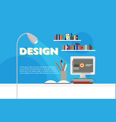 Flat workspace site template vector