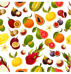 Exotic fresh fruits seamless pattern vector