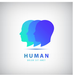 3 human heads faces logo vector image