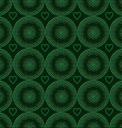 Seamless pattern of green circles halfton vector