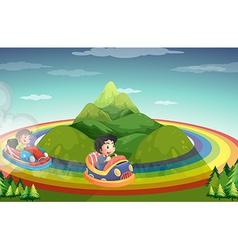 Car ride and rainboww vector image
