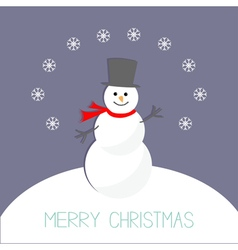 Cartoon snowman on snowdrift and snowflakes violet vector