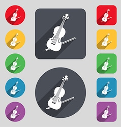 Violin icon sign a set of 12 colored buttons and a vector