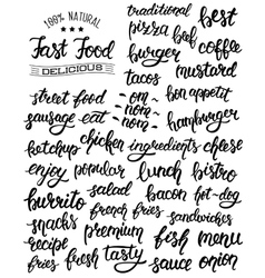 Hand lettering set of words for fast food with vector