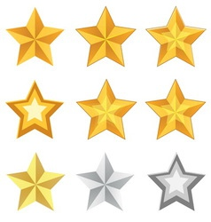 Gold star set vector
