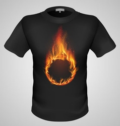 T shirts black fire print man 22 vector