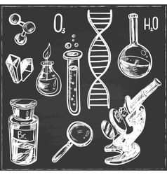 Hand drawn science beautiful vintage lab icons vector