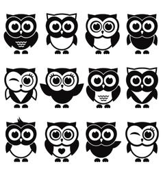 Funny black and white owls and owlets vector