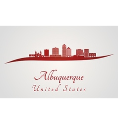 Albuquerque v2 skyline in red vector
