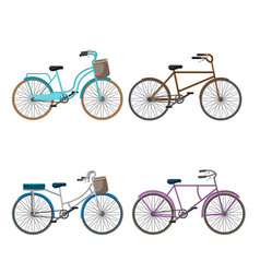 bicycle isolate collection set vector image