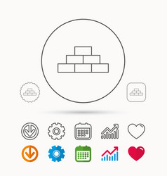 Brickwork icon brick construction sign vector