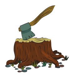 cartoon image of tree stump and axe vector image vector image