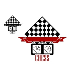 Chess match logo with chess board and clock vector