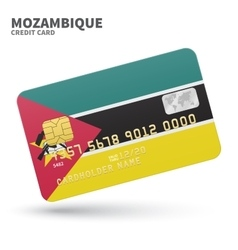 Credit card with mozambique flag background for vector