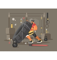 Crossfit workout flat vector