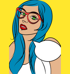 Cute hipster woman in glasses in pop art comic vector