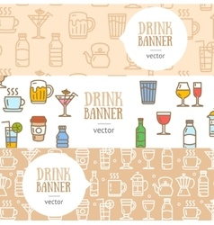Drink banner flyer horizontal set vector