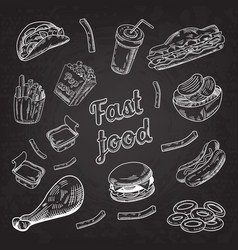 fast food restaurant menu blackboard hand drawn vector image