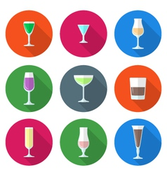 flat solid colors alcohol glasses set vector image vector image
