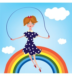 Girl cihild on the rainbow vector image