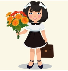 girl with a bouquet of flowers vector image vector image