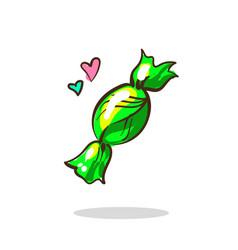 green candy sugar drop in a wrapper green color vector image vector image