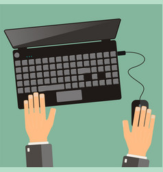 Hand of business man use laptop top view flat vector