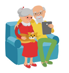 Happy senior couple sitting on the sofa read with vector