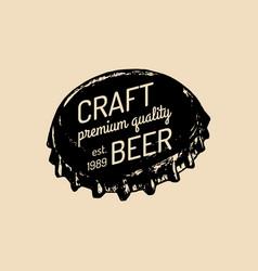 kraft beer bottle cap logo old brewery icon vector image