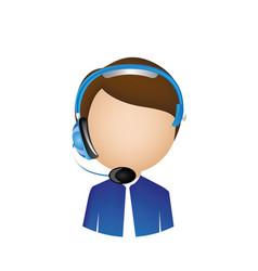 Man call center with headphone vector