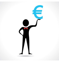 Man holding euro symbol vector image vector image