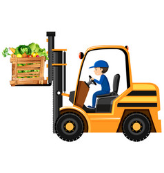 Man lifting bucket of vegetables with forklift vector