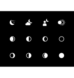 Moon phases icons on black background vector