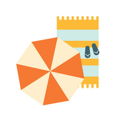 Set of blanket umbrella and flip-flops on the vector