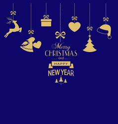 set of hanging golden christmas ornaments on dark vector image vector image