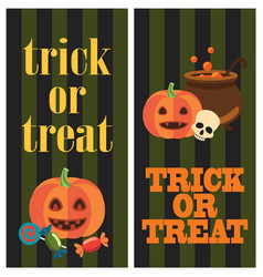 trick or treat halloween poster with pumpkins vector image vector image