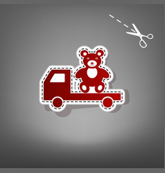 Truck with bear red icon with for vector