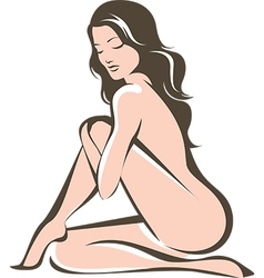 Young nude woman figure vector image vector image