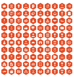 100 business career icons hexagon orange vector