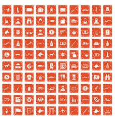 100 smuggling icons set grunge orange vector