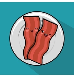 kawaii bacon plate breakfast icon vector image