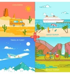 Caravaning bicycle and water tourism icons of vector