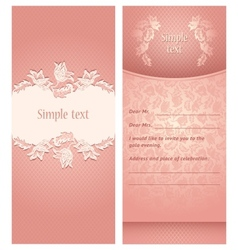 Wedding invitation flowers ornament vector image
