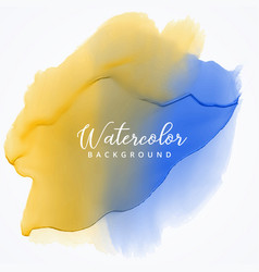 Yellow and blue watercolor stain background with vector