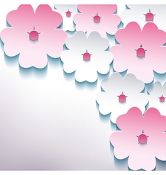 Floral abstract stylish background with 3d flower vector image