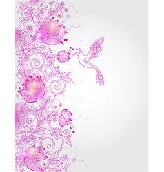 Hand drawn decorative pink floral background vector