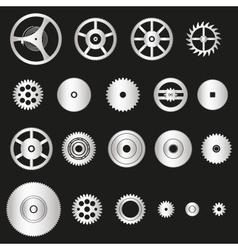Various silver metal cogwheels parts of watch vector