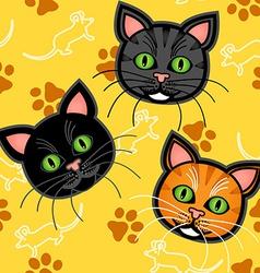 Seamless cartoon cat pattern over yellow vector image