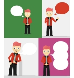 Set of young businessmen with speech bubbles vector