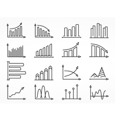 Graph line icons set vector